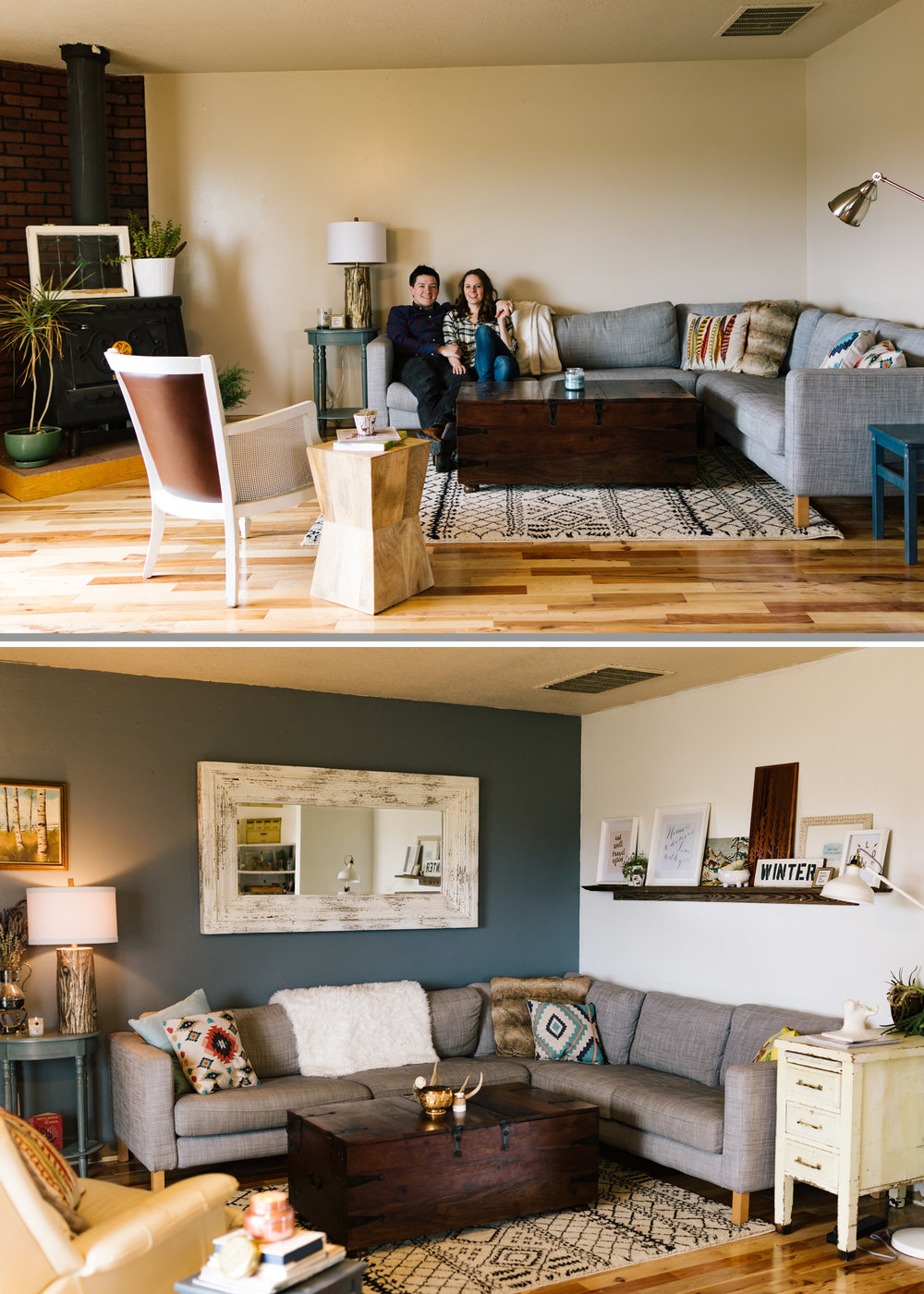 The top photo is from my very first session last February. The floors had already been done by the time I arrived, but I love how this space has come together with just a little bit of paint and some carefully curated statement pieces. Love this!