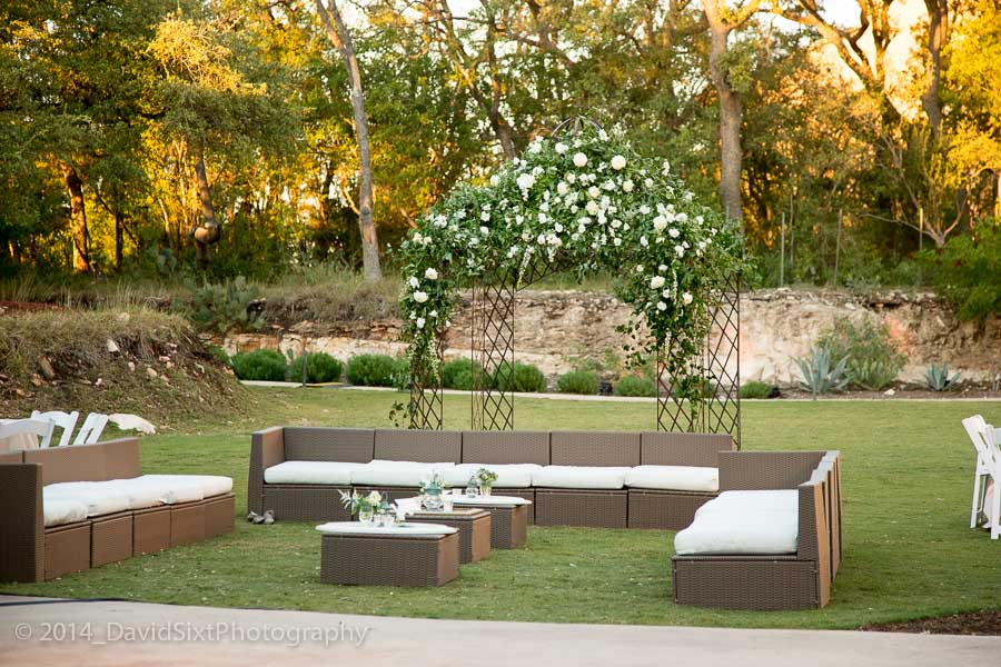 This lounge furniture and floral arbor were the favorite hang out location during cocktail hour as well as the outdoor reception and dancing.