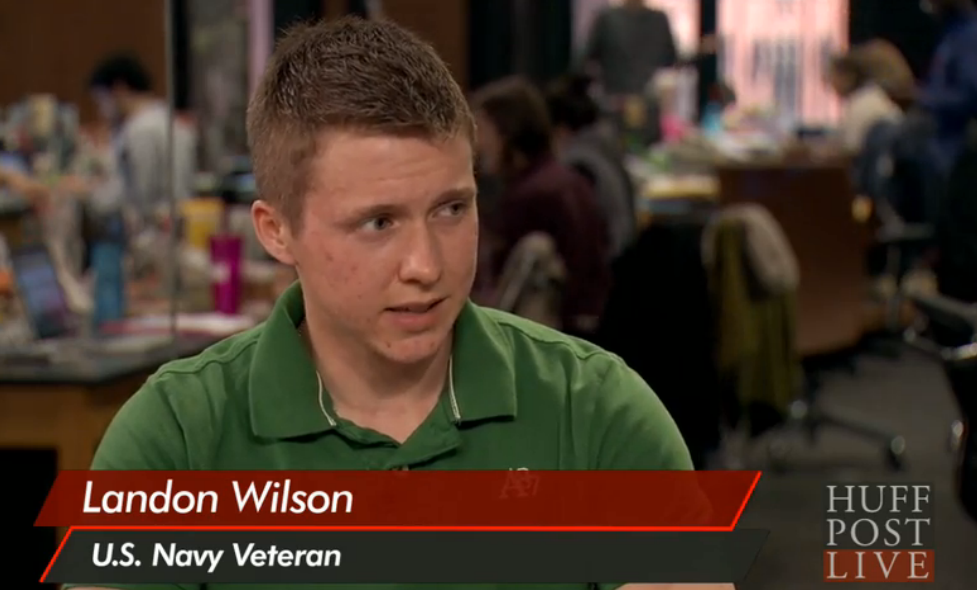 U.S. Navy Veteran, Landon Wilson speaking on Huffington Post Live.