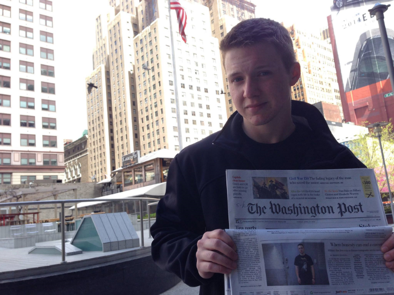 U.S. Navy Veteran, Landon Wilson holding  The Washington Post  the morning his story was featured on the front page. Landon interviewed with TransMilitary prior to his deployment to Afghanistan and shared his experience with the project throughout his proceedings and ultimate discharge.