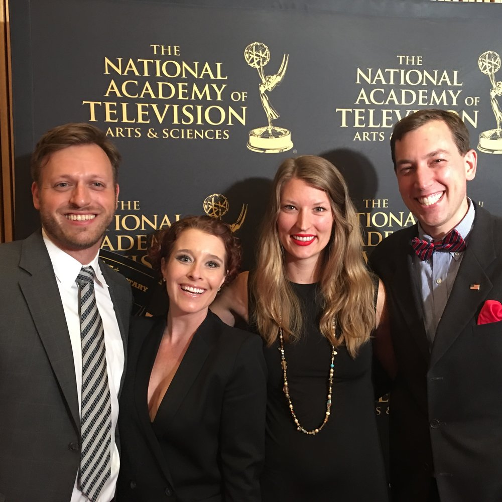 From left filmmakers Gabe Silverman, Fiona Dawson, Jamie Coughlin and subject-matter-expert, Dr. Jesse Ehrenfeld at the 37th Annual News and Documentary Emmy® Awards