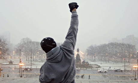 "Scene from ""Rocky"" as he reaches atop the stairs of the Philadelphia Museum of Art."