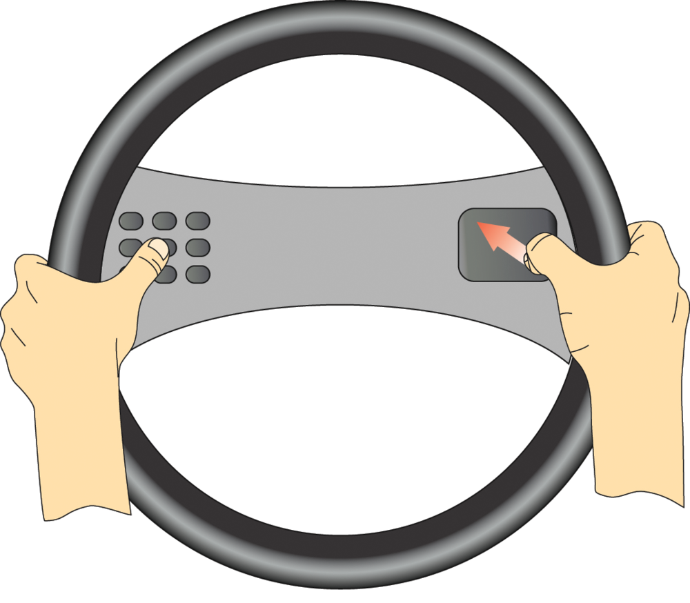 Thumb gestures with mode selection on steering wheel