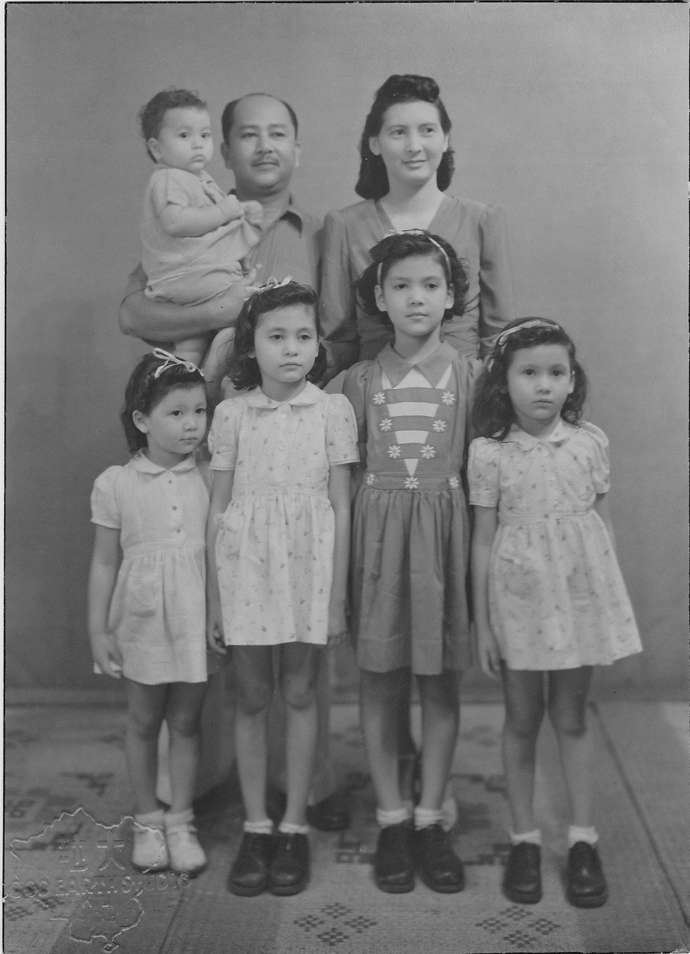 De Souza family circa 1946 - back row: Peter (babe in arms), Herman (Jnr), Molly; front row: Fleur,  Alethea, Claire and Valerie