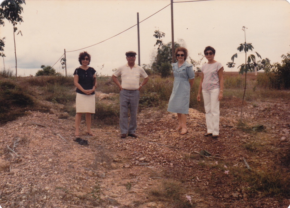 Visit to Bahau - Fleur, Herman (Jnr), Molly and Alethea de Souza, seeking to find understanding many years later, circa 1980.