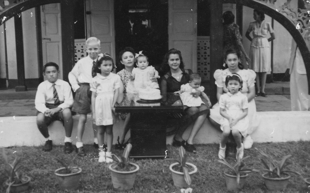 Mickey (second from left with cousins) shortly after the war, circa 1948