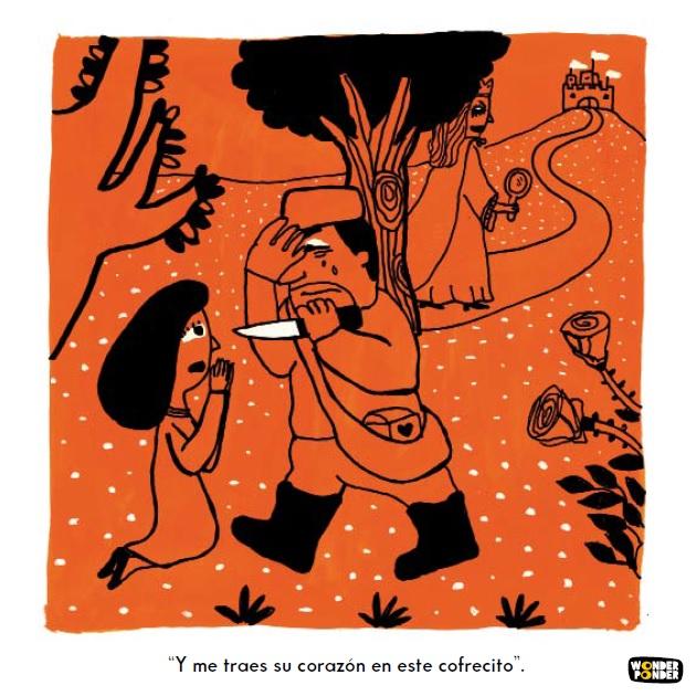 Escena sobre crueldad y (des)obedienciaa la autoridad,incluida en la primera cajade Filosofía visual para niños, Mundo cruel. Ilustración de Daniela Martagón.