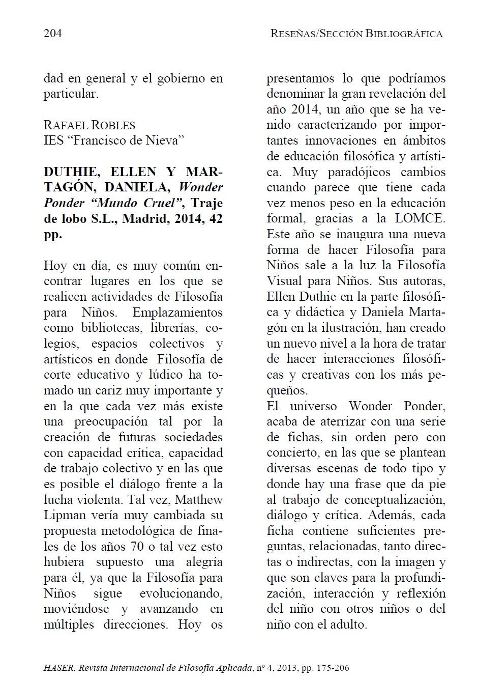 HASER, reseña Mundo cruel, pág. 1
