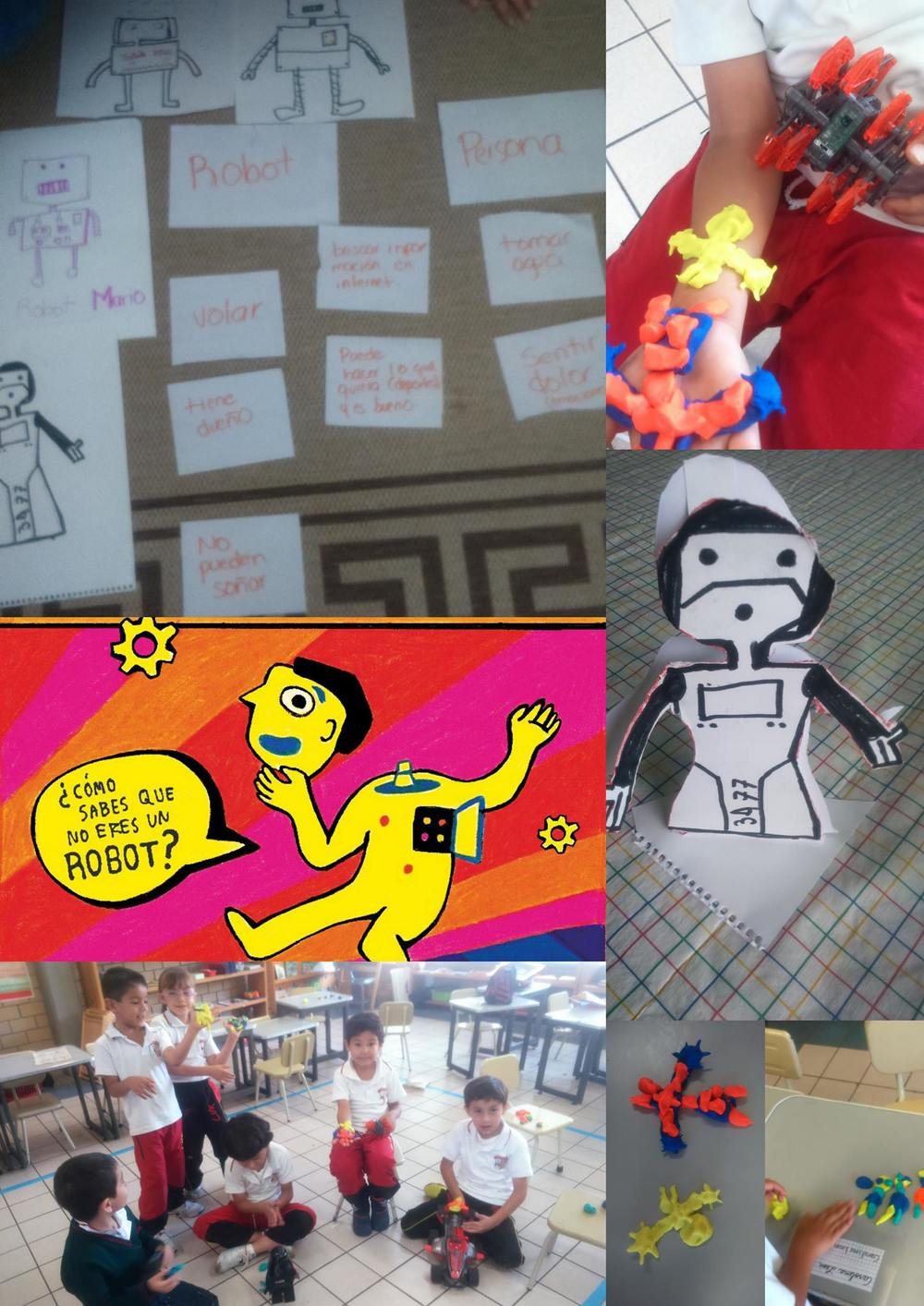 "This is what they told us on Facebook: Today in our last school session, we have been talking about ROBOTS. We have behaved like robots, drawn robots and spoken a bit about how we know that we are NOT robots. We also made robots out of plasticine. We  had a great time. We want to thank Wonder Ponder and Koiné Filosofica for asking us the question! Here are some of the answers that came up. Armando ""I'm not a robot because I have blood"" Luigi ""Humans have cells that protect us from viruses and robots do not"" Juan Pablo ""I am not a robot because I don't have any wires on my head"" Angel ""I am not a robot because I don't have an owner to tell me what to do"" Cony ""I have hair; robots don't"" Santi ""I have shoes and robots have boots"""
