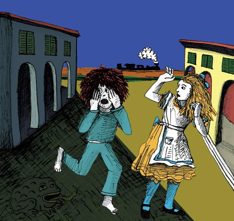 """Encuentro de Pequeño Remo con la Alicia de Lewis Carroll (y Tenniel) en el corto animado """"Pequeño Remo en el reino de Pellízcame""""."""