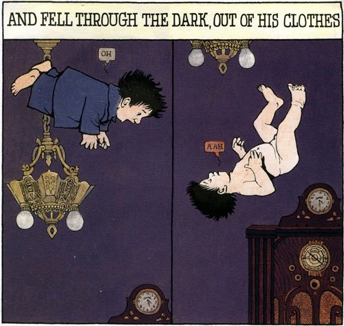 Sendak's very own Little Nemo, Mickey, falling through the night, out of his clothes.  In the Night Kitchen.  Harper, 1970.