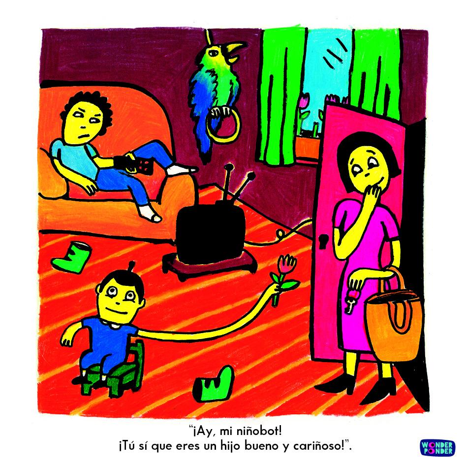 Escena de Yo, persona, de la serie de Filosofía visual para niños de Wonder Ponder (de Ellen Duthei y Daniela Martagón).