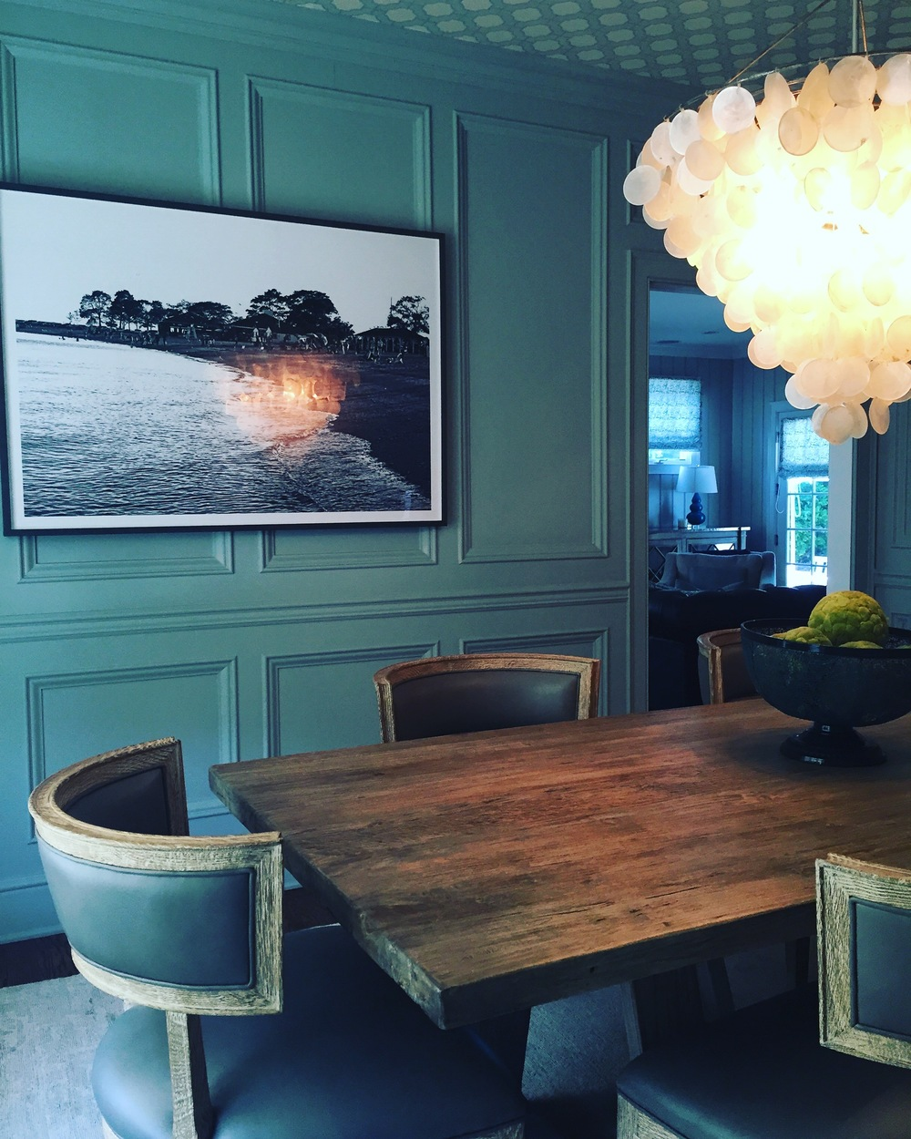 """Shannon Manchester Design Interiors with """"Timeless Compo"""" on the wall."""