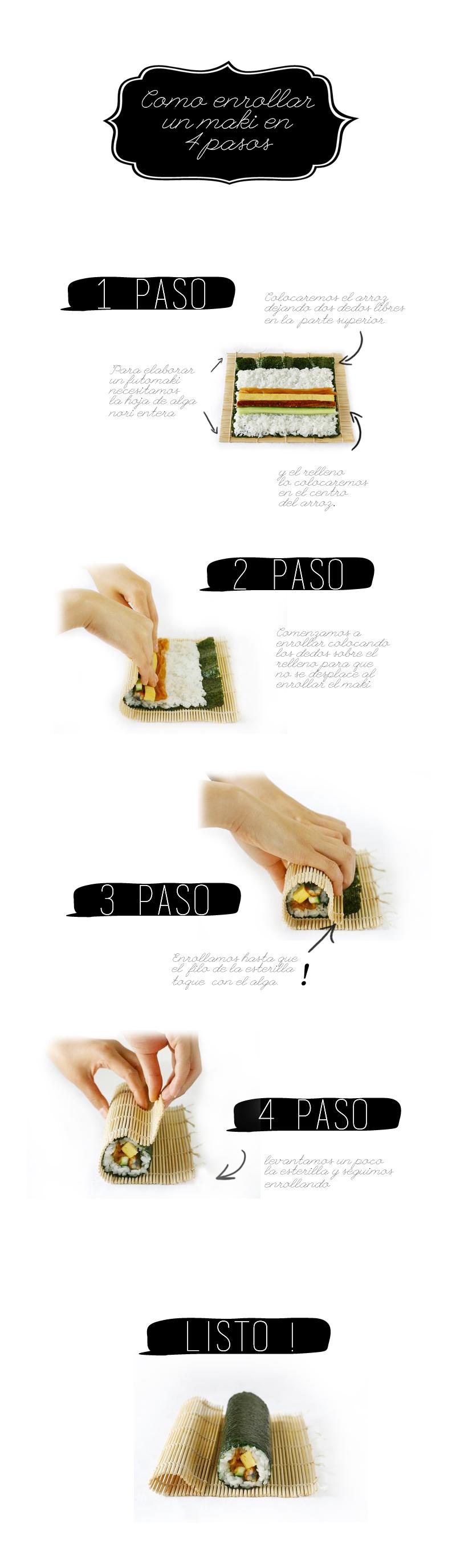 como enrollar un sushi en 4 pasos