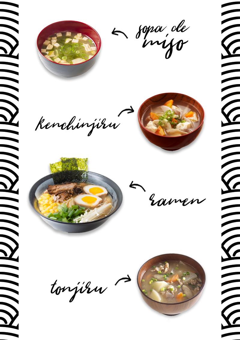 tipos de sopas japonesas. shirumono