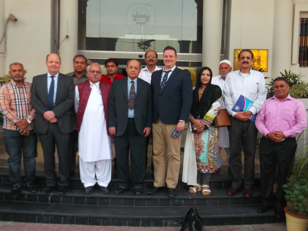Locus Economica CEO Jean-Paul Gauthier meeting with finance professionals at the Sialkot industrial zone in Punjab, Pakistan.
