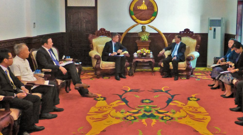 Jean-Paul Gauthier and Ambasador Michael Grau (German Embassy to Lao PDR) meet with Governor Santiphab Phomvihane, Governor of Savannaketh Province.  Locus has helped advise zones policy discussions for the Lao government since 2015.