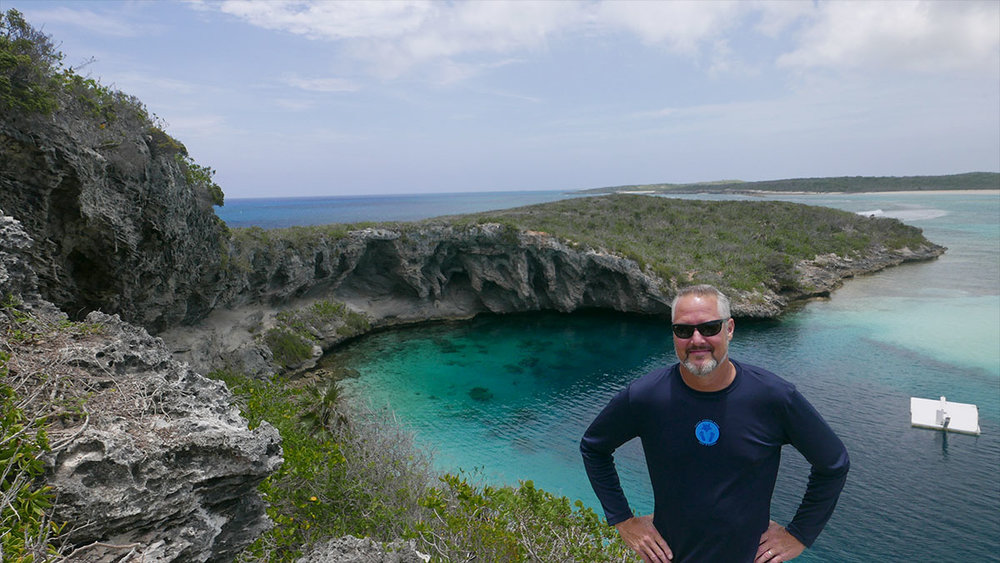Dean (on his 55th birthday) at  Dean's Blue Hole  -  Long Island, Bahamas