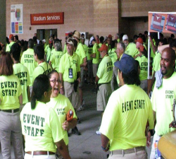 Event staff at a Texas football game.