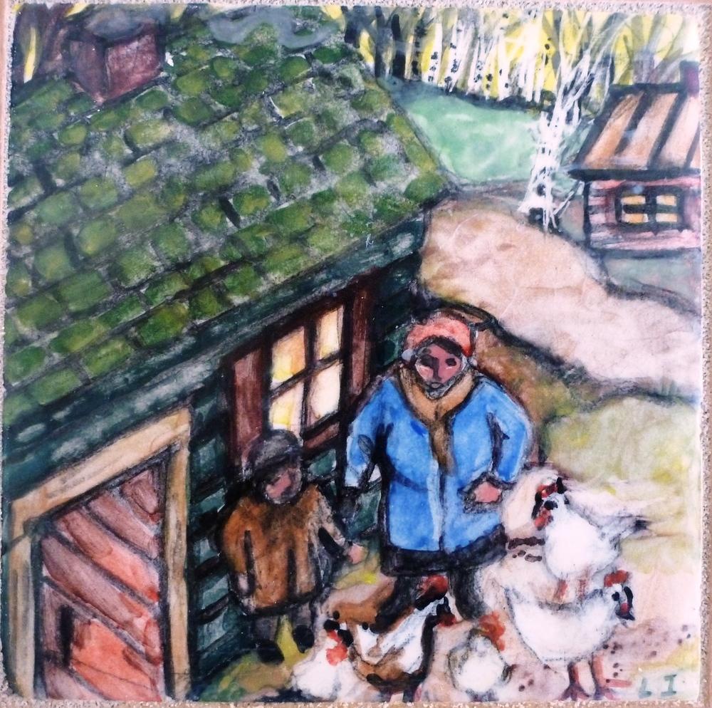 Feeding White Chickens in the Village.JPG