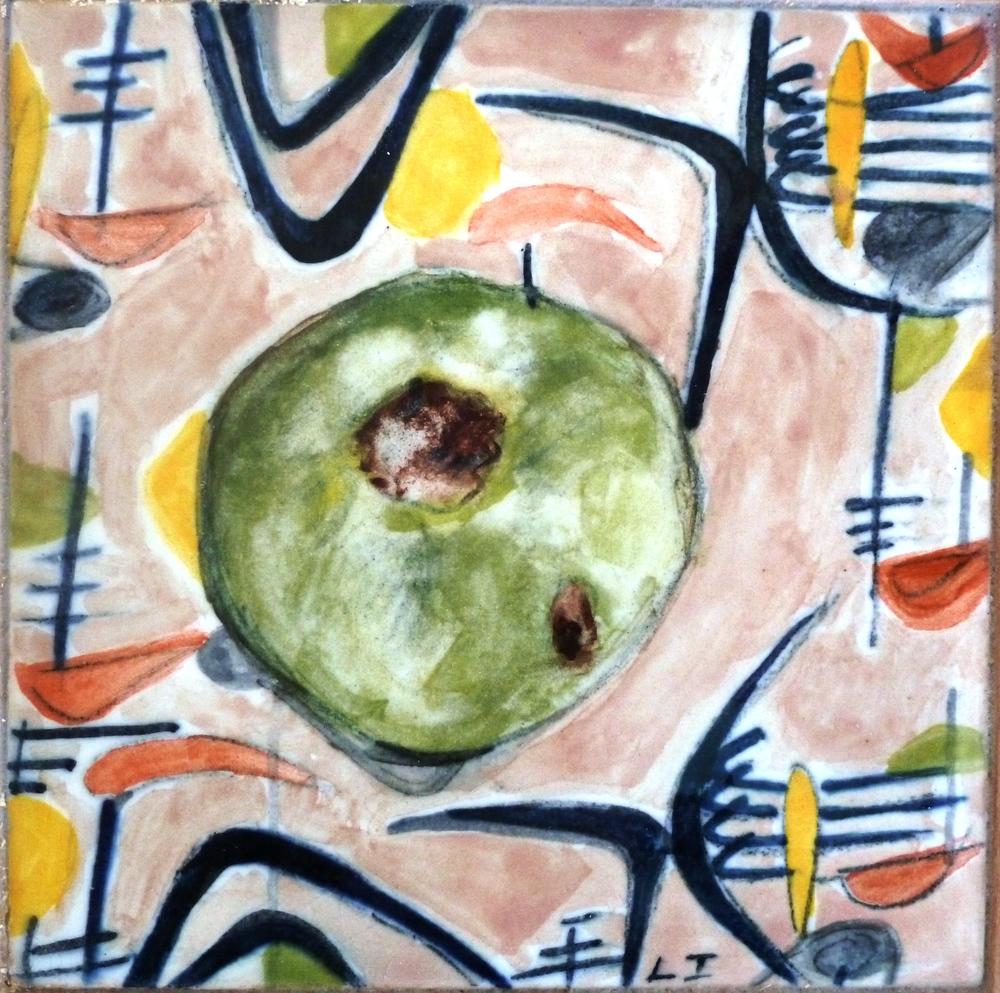 Green Tomato on Barkcloth with Boomerangs.JPG
