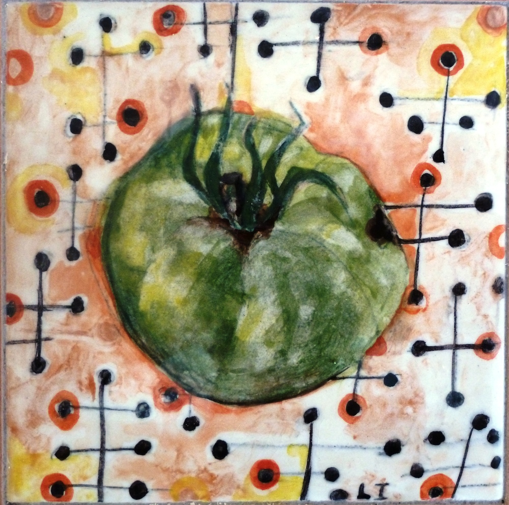 Green Tomato on Barkcloth with Red Circles.JPG