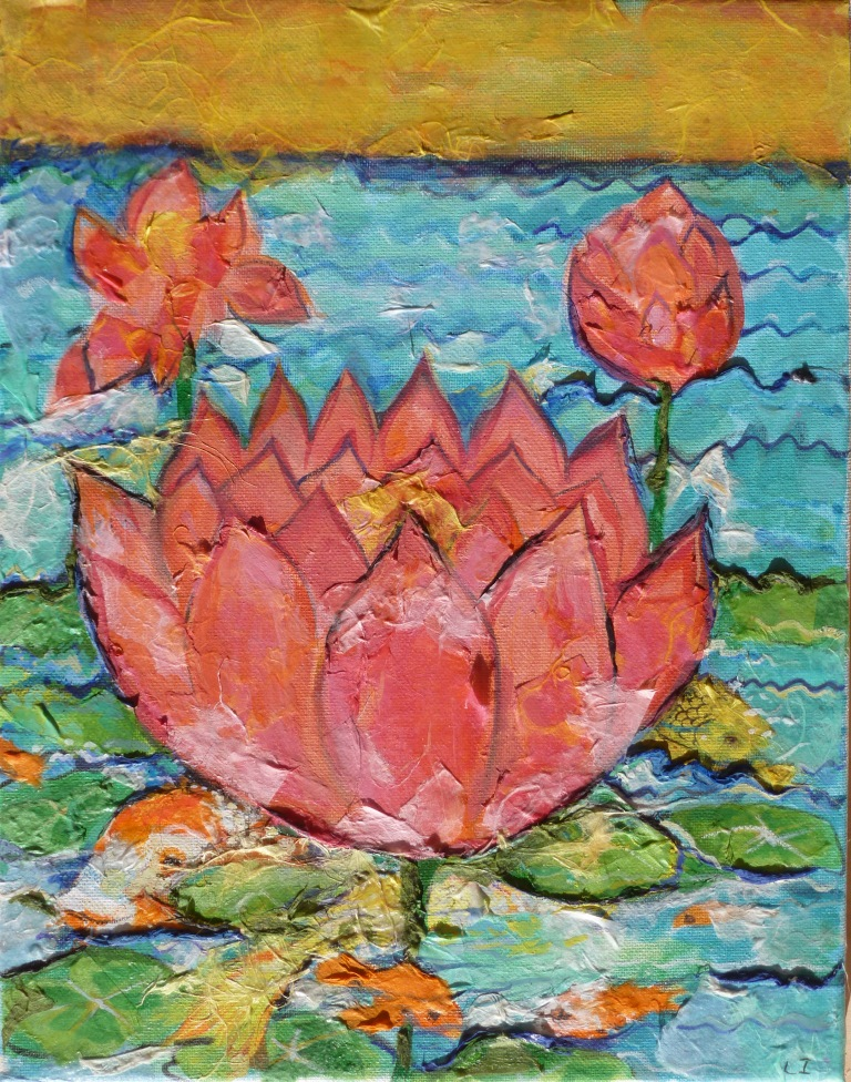 Lotuses with Yellow Sky - 11x14.jpg