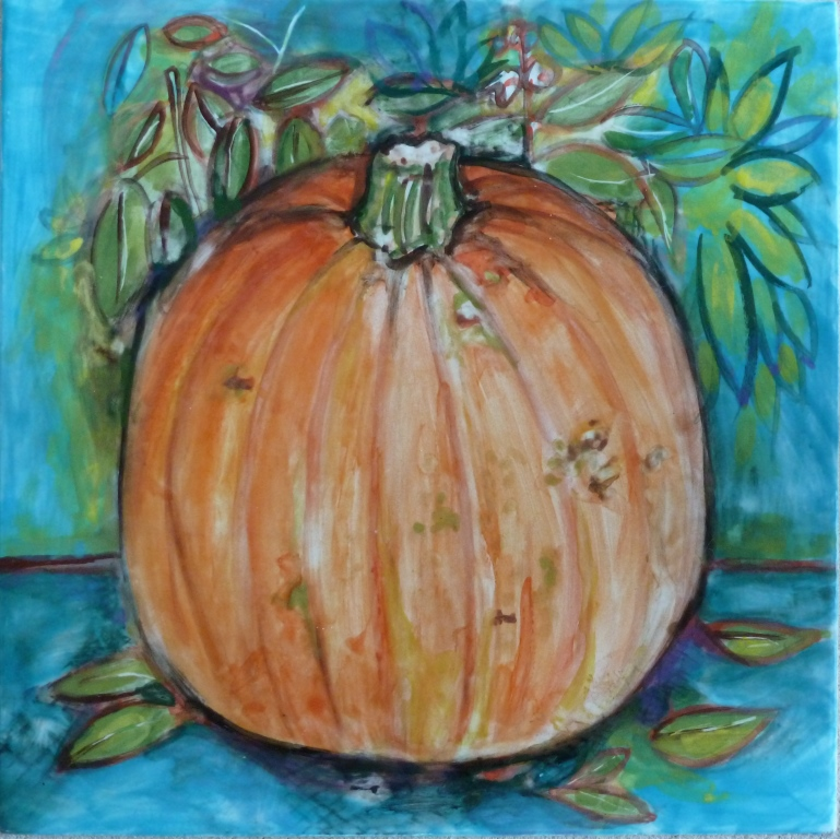 Small Sugar Pumpkin with Basil - 8x8.jpg