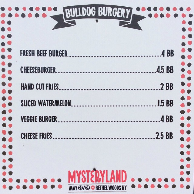 Hello, #Mysteryland!  We're here to serve you! #burgers #fries #love