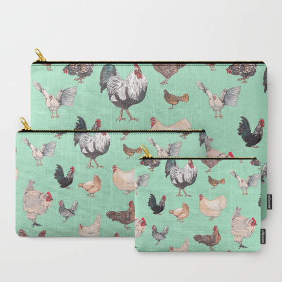 But wait, there's more... - Chicken Happy prints are also available at Society6, where you can get these great pouches, coffee mugs, travel mugs and much more, all with the Chicken Happy print in white, yellow, mint green or blue.