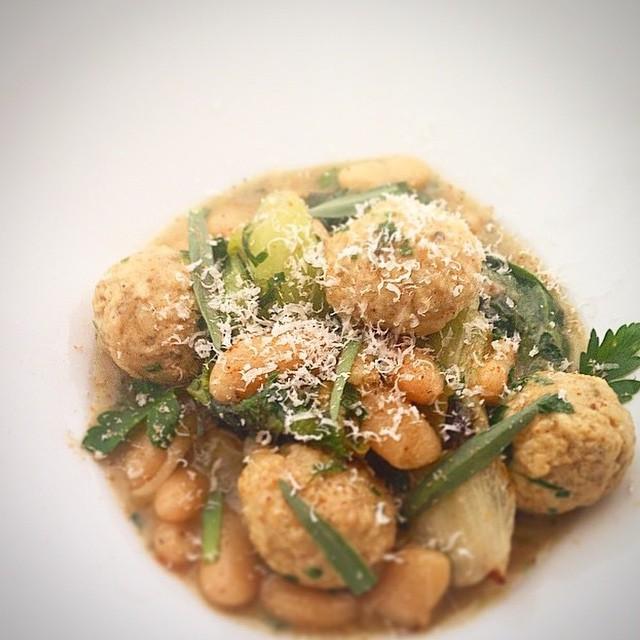 Foie Gras & Chicken Meatballs. Escarole. Cannelli Beans. Parmesan.