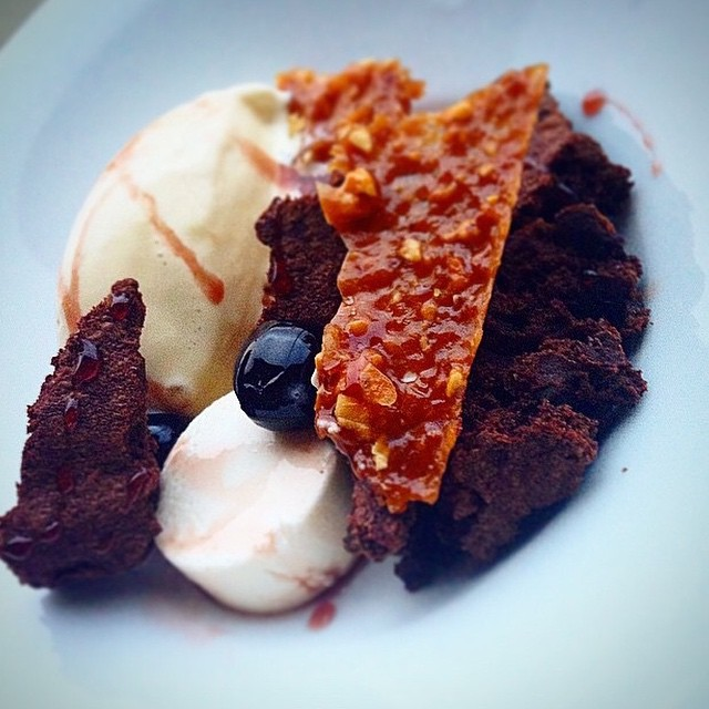 Banana Ice Cream. 75% Dark Chocolate Brownie. Peanut Nougatine. Maraschino Cherry.