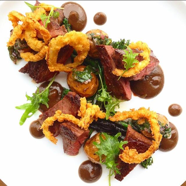 Hanger. Potato. Broccoli I. Ramp. Steak sauce. Curried onion rings.