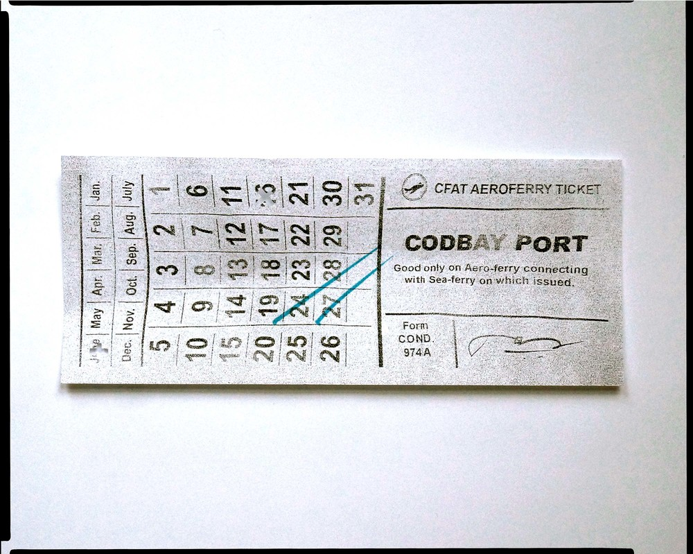 """ CodBay Company Ferry Ticket. "" Stub from aero-ferry route Isthaut-Wianno, Commonwealth Ferry Authority Transit; Atlantic Federation Publishing, 2120."