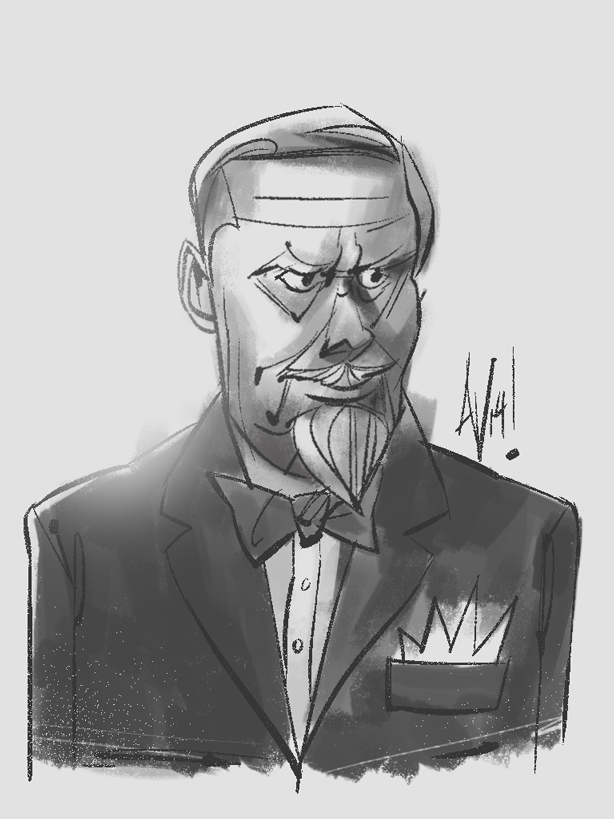 Here's a quick sketch I did of one of founders of Sterling Cooper, the late Bertram Cooper.  SHOES OFF PLZ!