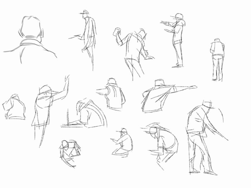 Found mold in my car and need to take it in to get it out. Here are some gesture drawings of the men at work.