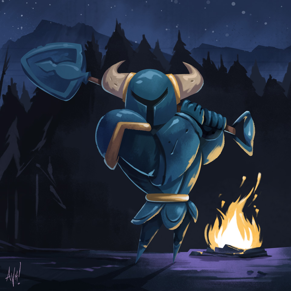 I painting I did of Shovel Knight.  Gotta lace up the Yacht Club guys with a print soon!
