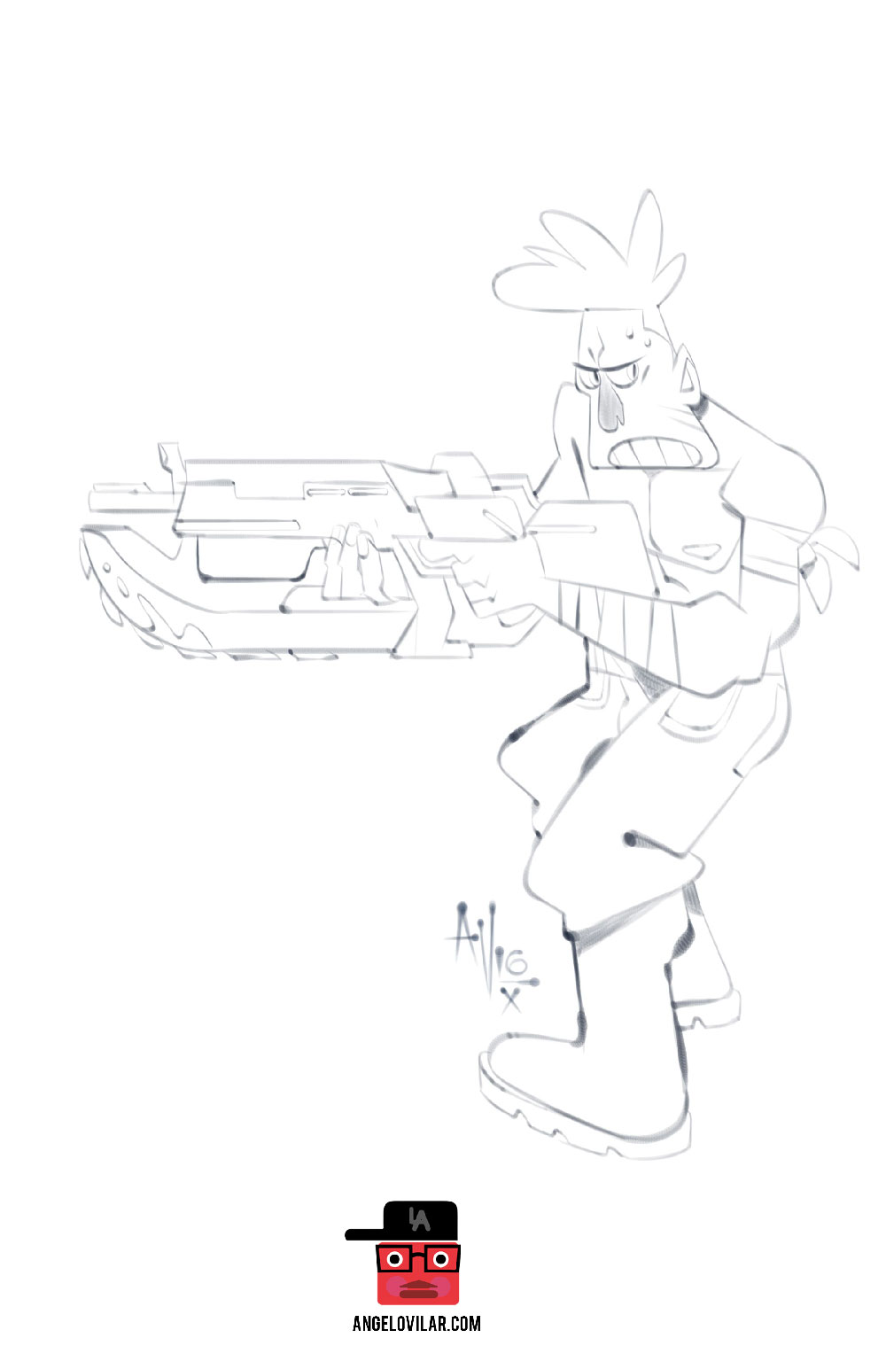Quick sketch of guy with a Lancer gun