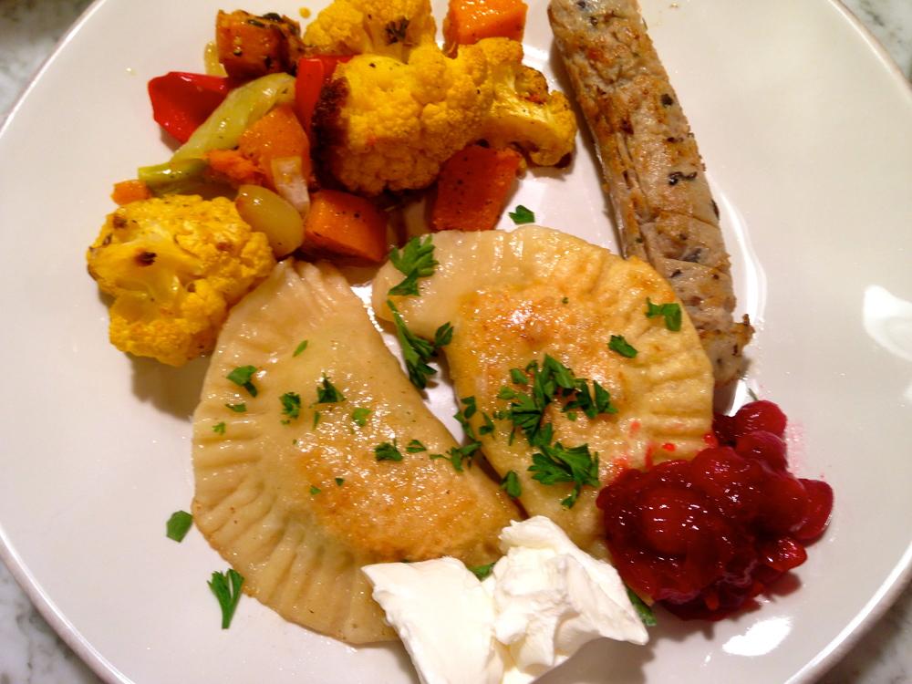 Pierogi with Potato, Cheese, Bacon, Peas, and Cranberry Sauce ...
