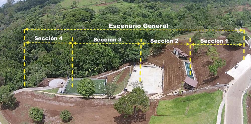 Esquema del escenario general dividido en secciones.