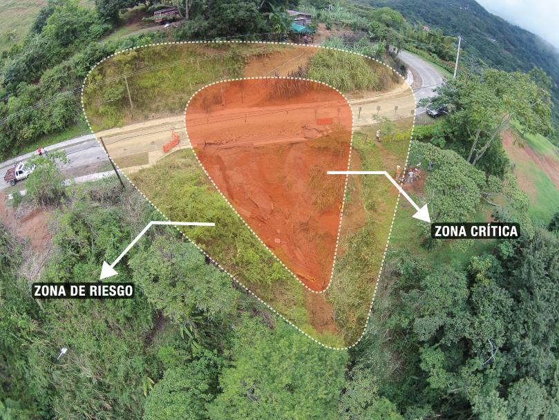 Análisis del alcance del deslizamiento partiendo de una fotografía aérea.