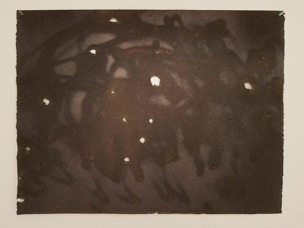 "Acrylic on Sandblasted Rives BFK  22""x 30""  2017"