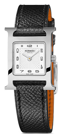Hermes Heure H  watch, 21 x 21mm, white dial, quartz movement, black grained calfskin leather strap, $2300