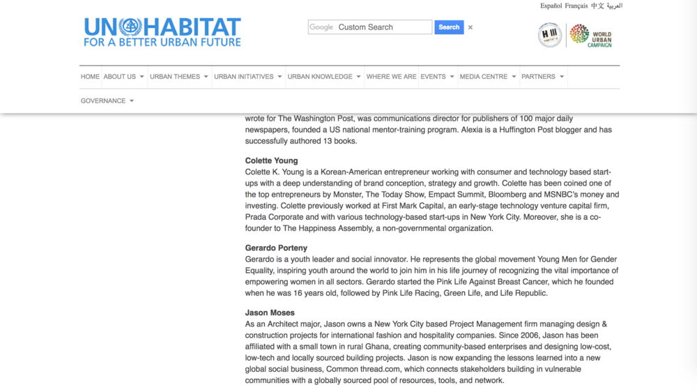 Editorial:  UN Habitat /    March 2014, UN Habitat Urban Youth Fund