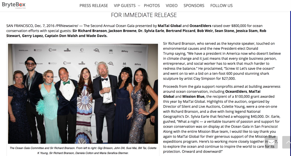 Editorial:  BryteBox PR, The Ocean Gala   /    December 2016, MaiTai Global & OceanElders Ocean Conservation Gala