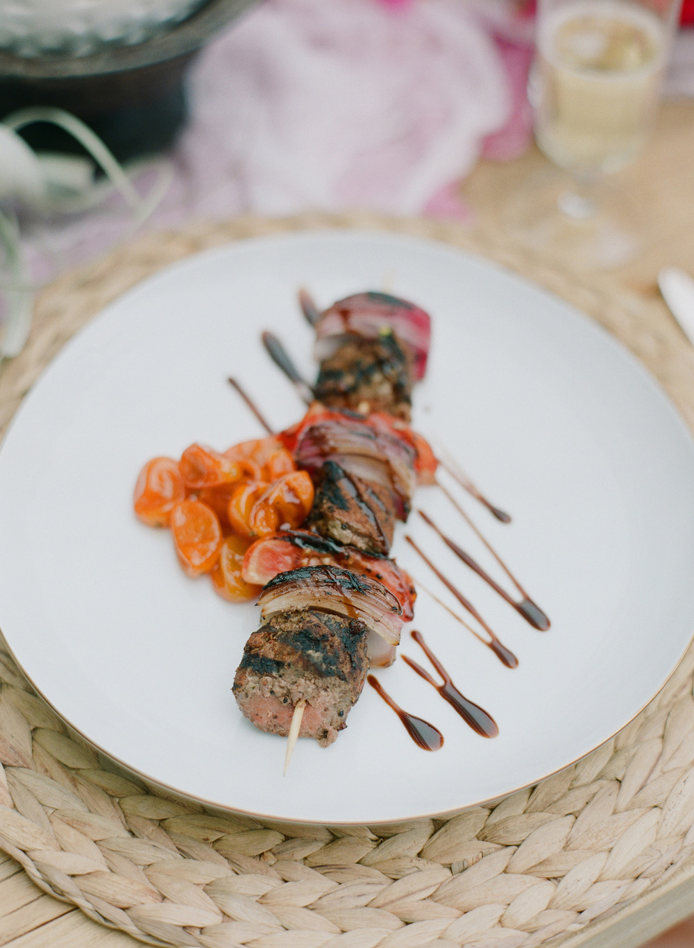Hairssa Marinated Grilled Lamb Kebob, Blistered Tomatoes