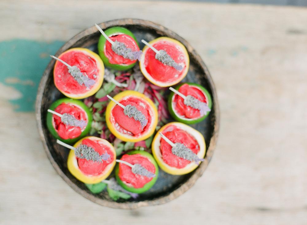 Raspberry Sorbet in Lemon Cup