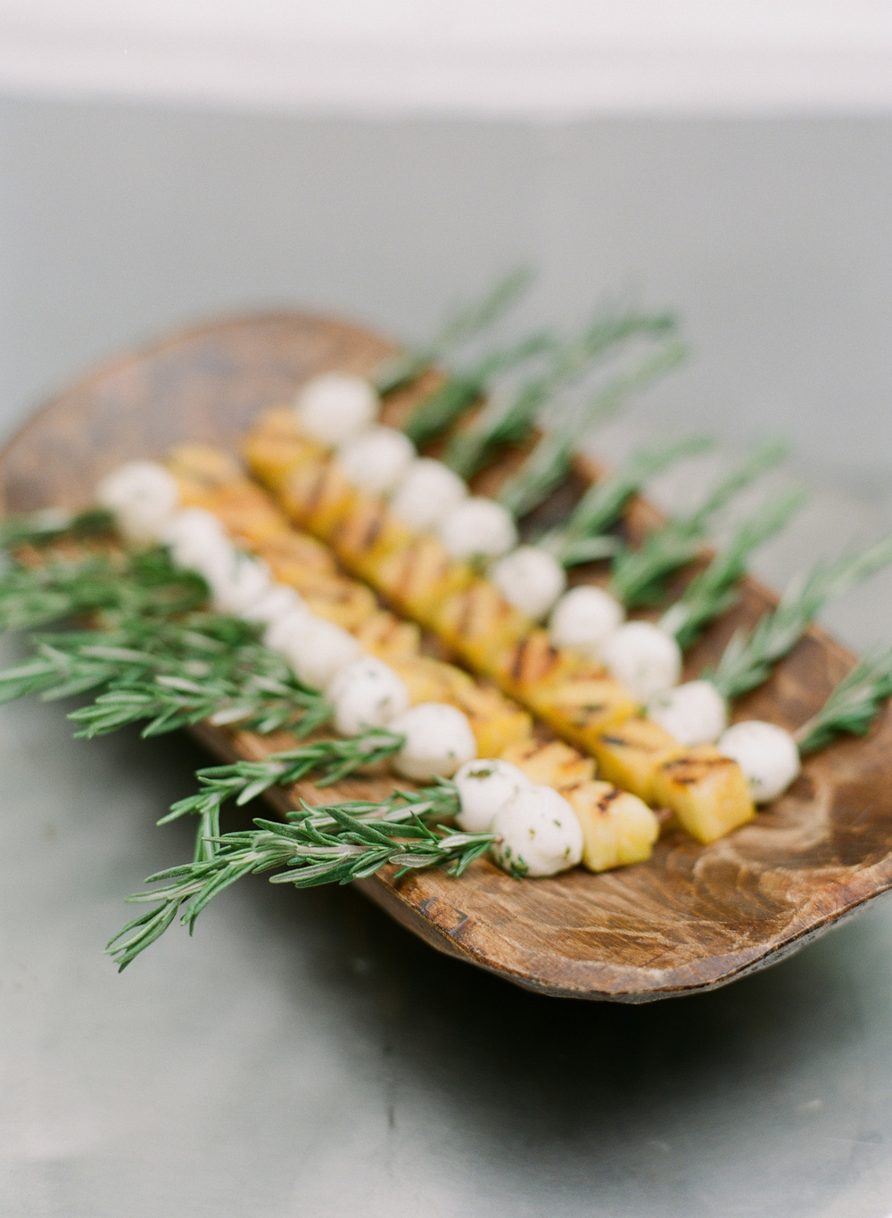 Grilled Pineapple and Fresh Mozzarella, Rosemary Spear