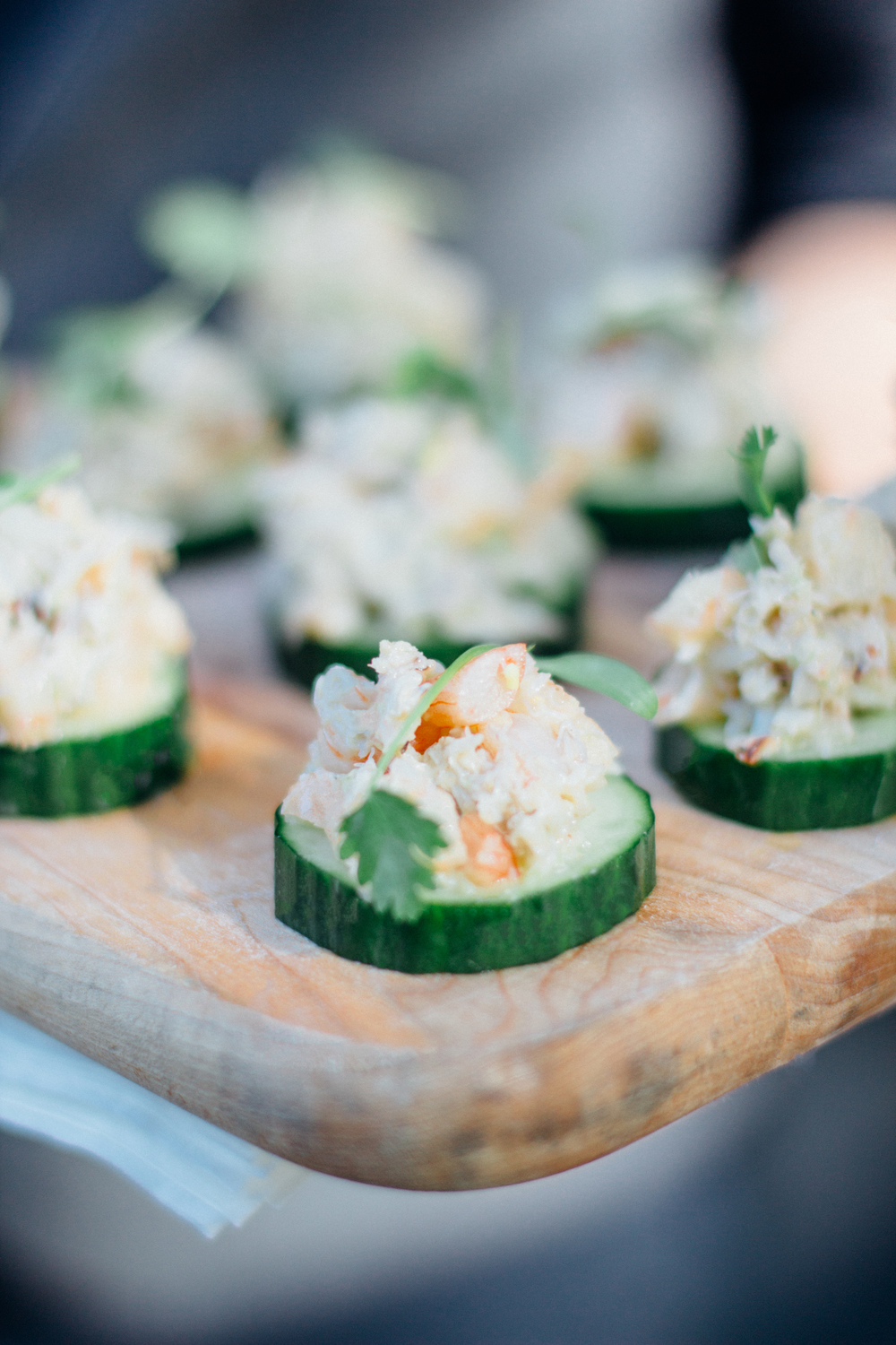Crab and Shrimp with Jalapeno Pesto on Cucumber Medallion
