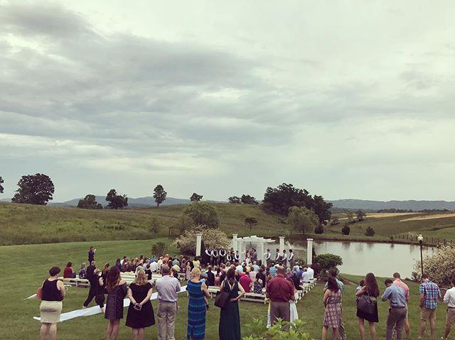 The rain didn't stopp Christopher & Rebecca's wedding today at @sinklandfarms . #nrvweddings #blacksburgwedding #christiansburgwedding #charlottesvillewedding #cvilleDJs #sinklandfarmsVA